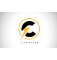 c letter logo design with lighting thunder bolt vector image