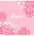 Card template with pink roses Image for wedding vector image