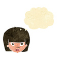 cartoon annoyed woman with thought bubble vector image vector image