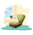 Cat above the chair vector image vector image