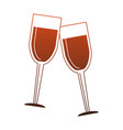 champagne glass cups red lines vector image vector image