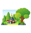 children camping out in the park vector image vector image
