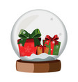 christmas snow globe with gifts vector image