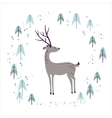 Deer in winter pine forest isolated on white vector image vector image