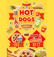 fast food hot dogs pizza and burgers menu vector image vector image