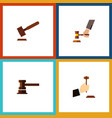 flat icon hammer set of justice crime government vector image vector image