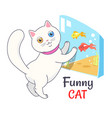 funny white cat looking aquarium with fish vector image vector image
