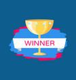 golden trophy cup for winner vector image vector image
