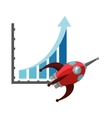 graph chart and rocket icon vector image