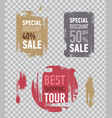 grunge sale stickers on transparent background vector image
