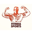 Hand drawn strong man logo or poster vector image vector image