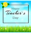 happy teacher day realistic greeting banner for vector image vector image