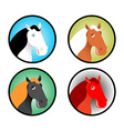 Horse icons set Head of animal with multi-colored vector image vector image