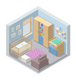 isometric child room with modern furniture the vector image