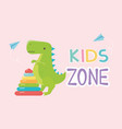 kids zone plastic pyramid and green dinosaur toys vector image