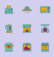 kitchen appliances colour icons set vector image vector image
