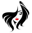 long hair style icon logo women face on white vector image
