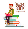 man reading book giant stack of books vector image vector image
