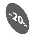 minus 20 percent sale black emblem icon isometric vector image