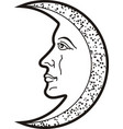 moon with face heraldic sybol and tattooblack vector image vector image