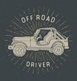 offroad suv car vintage label hand drawn sketch vector image vector image