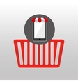online shopping red basket design vector image vector image