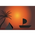Palm boat in the sunset EPS 10 vector image vector image