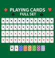 playing cards full deck for poker black jack vector image vector image