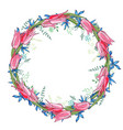 round garland with spring flowers tulips and and vector image