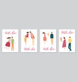set of cards with couple in love vector image