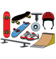 skateboard objects set vector image vector image