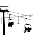 ski lift snowboarders skiers vector image