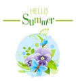 Summer icon with nature elements - viola flower vector image vector image
