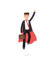 superhero businessman in red cloak character in vector image