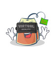 tea bag character cartoon art with virtual vector image vector image