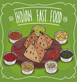 traditional indian fast food samosa with sauces vector image vector image