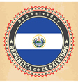 Vintage label cards of El Salvador flag vector image