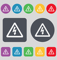 voltage icon sign A set of 12 colored buttons Flat vector image