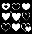 white heart silhouette icon set different shape vector image vector image