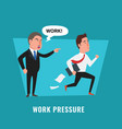 work pressure angry boss shouting at employee vector image vector image