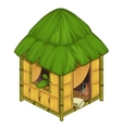 Cozy house made of bamboo and straw vector image