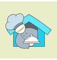 Flat icon of cute chef mustaches and tray vector image
