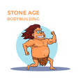 hand drawn cartoon stone age cave man shows his vector image