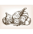 Meat products still life sketch style vector image