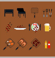 set of colored icons barbecue vector image