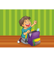 a boy with schoolbag vector image vector image