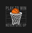 basketball t-shirt design with basket net ball vector image