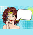 beautiful curly girl speaks on a smartphone with vector image vector image