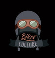 biker culture poster with helmet and glasses of vector image vector image
