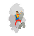 boy with bag climbing on a rock mountain with vector image